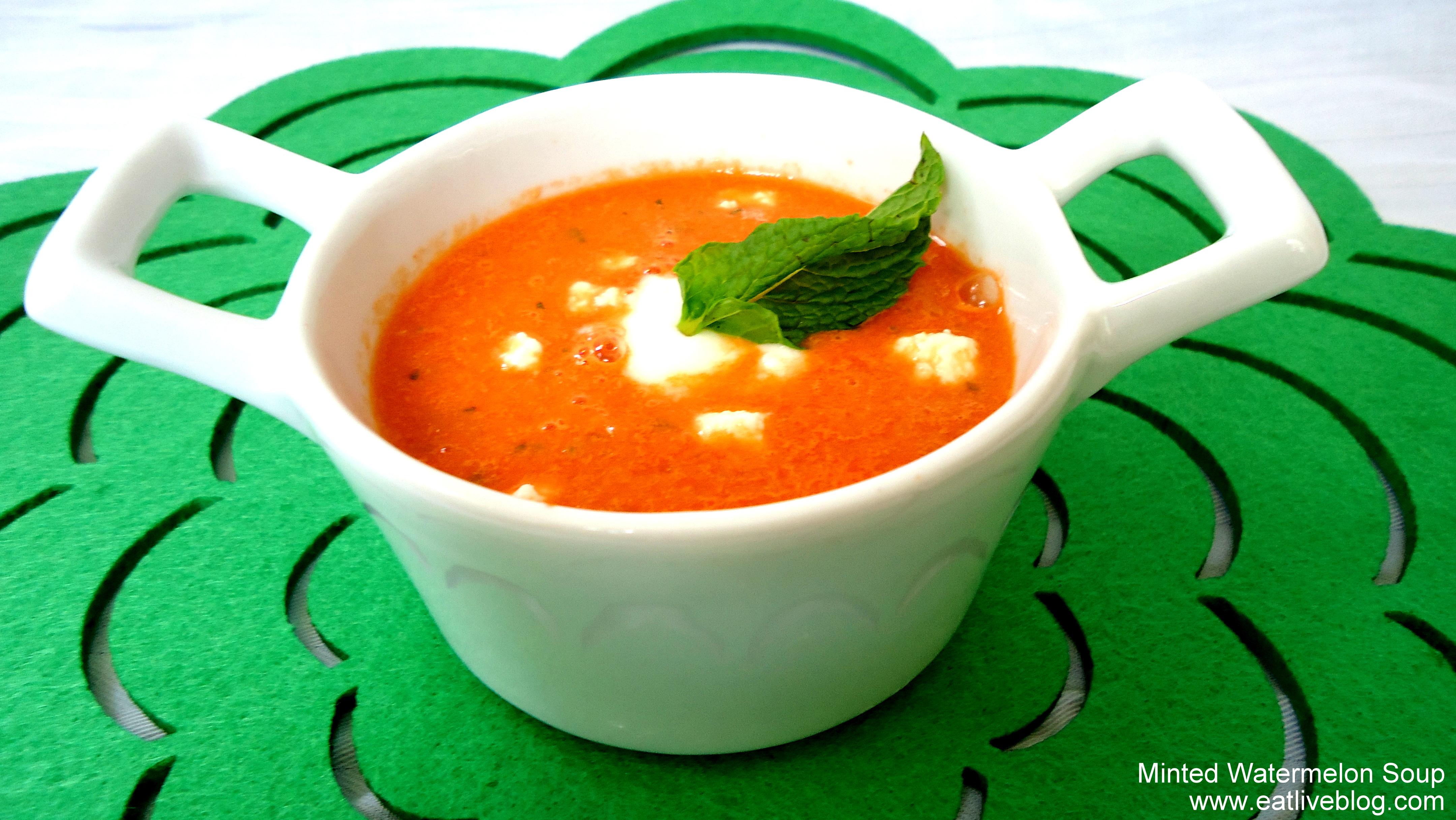 Chilled Minted Watermelon Soup Recipe #ColdSoupWeek | Eat.Live.Blog